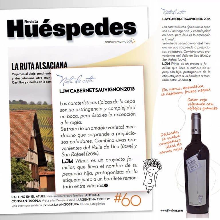 LJW Cabernet Sauvignon en Revista Huéspedes