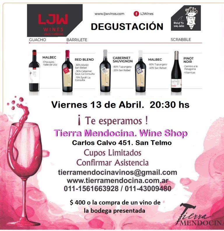 Degustación Tierra Mendocina LJW-bodegas y viñedos vinos malbec cabernet pinot noir blend terroir